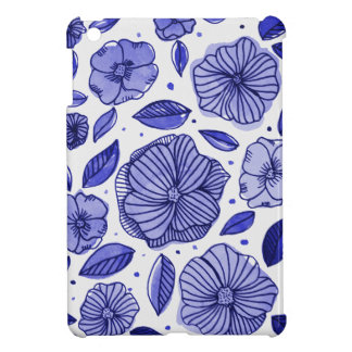 Watercolor and ink flowers – blue palette case for the iPad mini