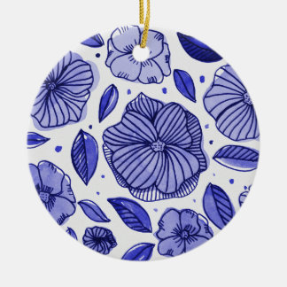 Watercolor and ink flowers – blue palette ceramic ornament