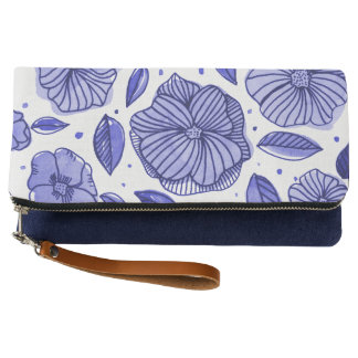 Watercolor and ink flowers – blue palette clutch