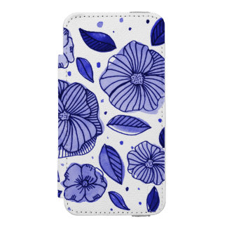 Watercolor and ink flowers – blue palette incipio watson™ iPhone 5 wallet case