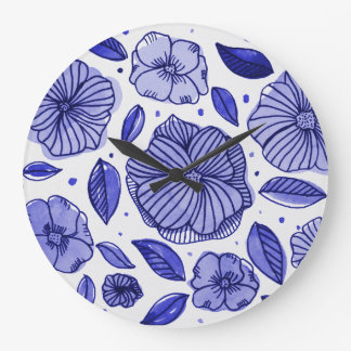 Watercolor and ink flowers – blue palette large clock