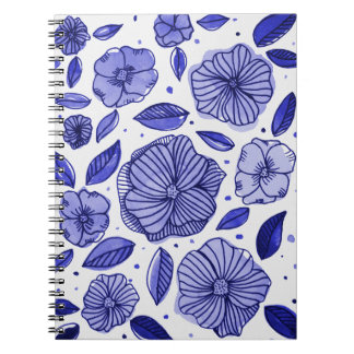 Watercolor and ink flowers – blue palette notebooks
