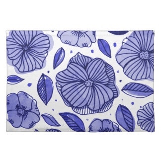 Watercolor and ink flowers - blue placemat