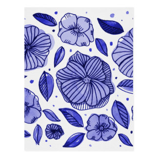 Watercolor and ink flowers - blue postcard