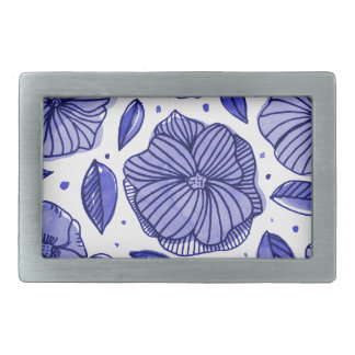 Watercolor and ink flowers - blue rectangular belt buckle