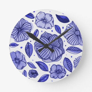 Watercolor and ink flowers - blue round clock