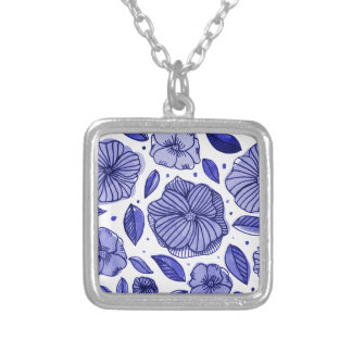 Watercolor and ink flowers - blue silver plated necklace