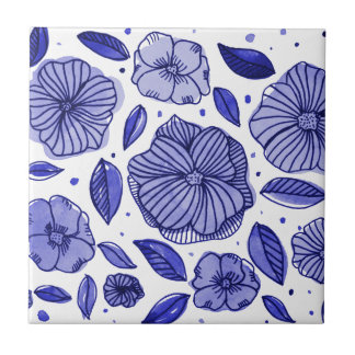 Watercolor and ink flowers - blue tile