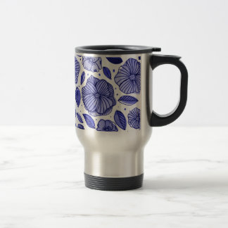 Watercolor and ink flowers - blue travel mug