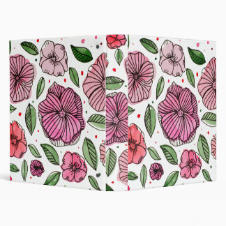Watercolor and ink flowers – pink and green 3 ring binders