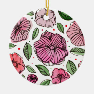 Watercolor and ink flowers – pink and green ceramic ornament