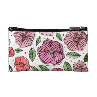 Watercolor and ink flowers – pink and green cosmetic bag