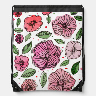 Watercolor and ink flowers – pink and green drawstring bag