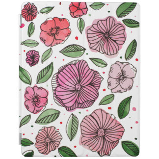 Watercolor and ink flowers – pink and green iPad cover