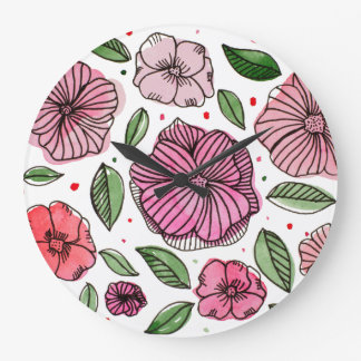 Watercolor and ink flowers – pink and green large clock