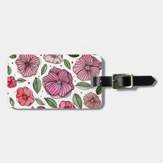 Watercolor and ink flowers – pink and green luggage tag