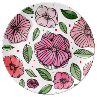Watercolor and ink flowers – pink and green plate