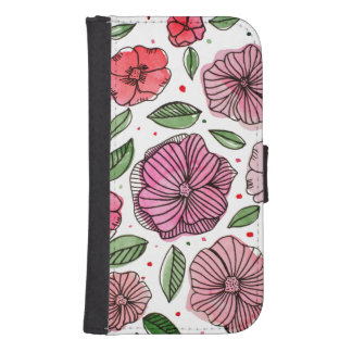 Watercolor and ink flowers – pink and green samsung s4 wallet case