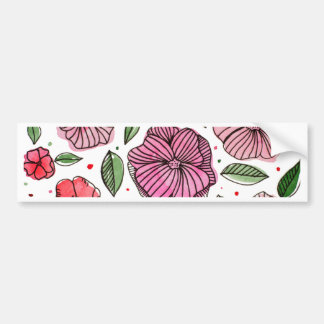 Watercolor and ink flowers - pink bumper sticker