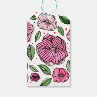 Watercolor and ink flowers - pink gift tags