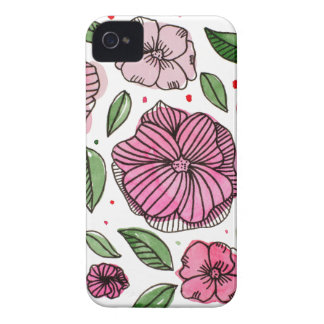Watercolor and ink flowers - pink iPhone 4 cover