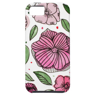 Watercolor and ink flowers - pink iPhone 5 covers