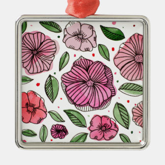 Watercolor and ink flowers - pink metal ornament