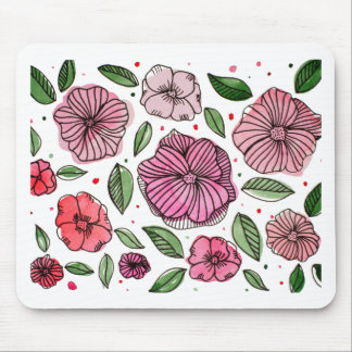 Watercolor and ink flowers - pink mouse pad