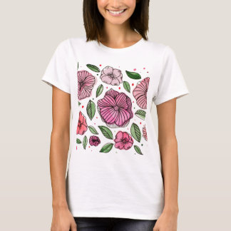 Watercolor and ink flowers - pink T-Shirt