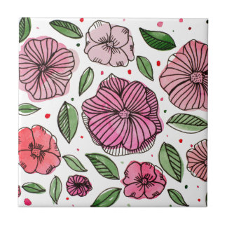 Watercolor and ink flowers - pink tile