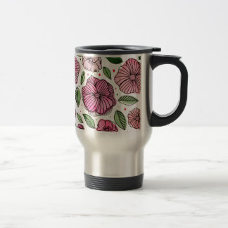 Watercolor and ink flowers - pink travel mug