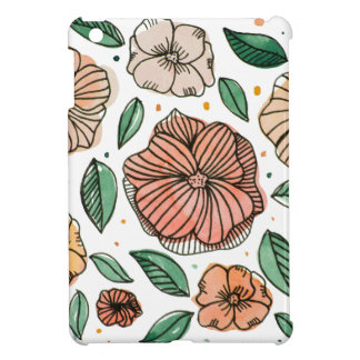 Watercolor and ink flowers - vintage case for the iPad mini