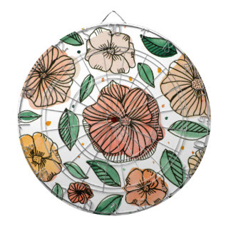 Watercolor and ink flowers - vintage dartboard