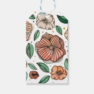 Watercolor and ink flowers - vintage gift tags