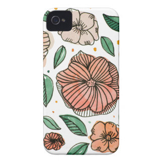 Watercolor and ink flowers - vintage iPhone 4 cover