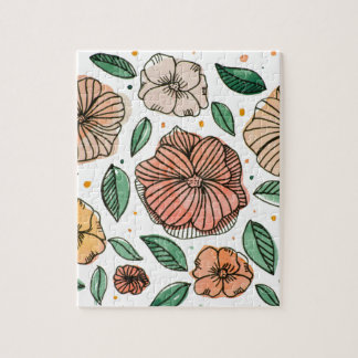 Watercolor and ink flowers - vintage jigsaw puzzle