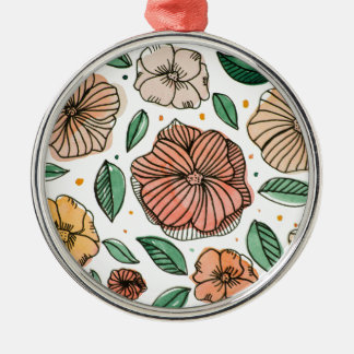 Watercolor and ink flowers - vintage metal ornament