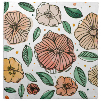 Watercolor and ink flowers - vintage napkin
