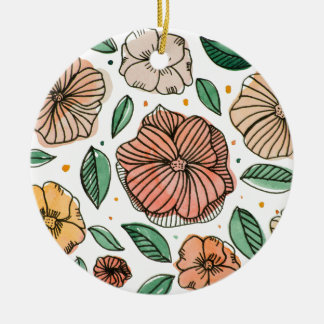 Watercolor and ink flowers – vintage palette ceramic ornament