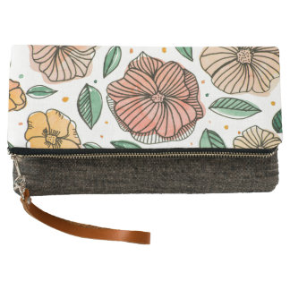 Watercolor and ink flowers – vintage palette clutch