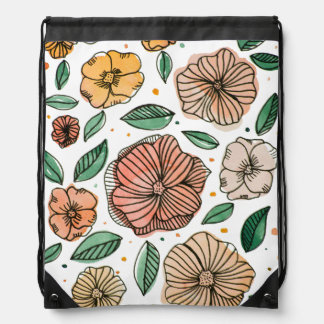 Watercolor and ink flowers – vintage palette drawstring bag