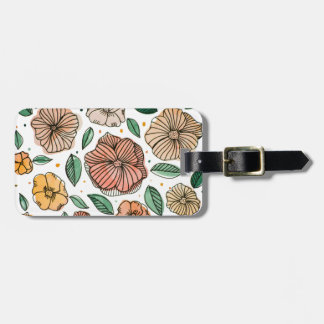 Watercolor and ink flowers – vintage palette luggage tag