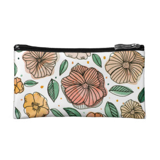 Watercolor and ink flowers – vintage palette makeup bag