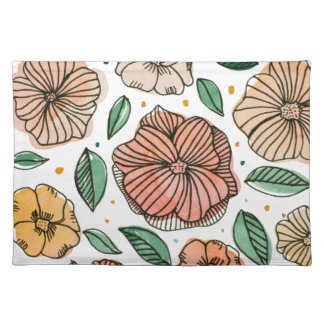 Watercolor and ink flowers - vintage placemat
