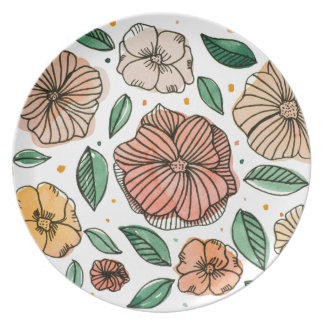 Watercolor and ink flowers - vintage plate
