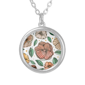 Watercolor and ink flowers - vintage silver plated necklace