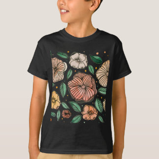 Watercolor and ink flowers - vintage T-Shirt
