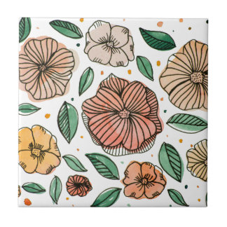 Watercolor and ink flowers - vintage tile