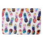 watercolor and nebula pineapples illustration bath mat