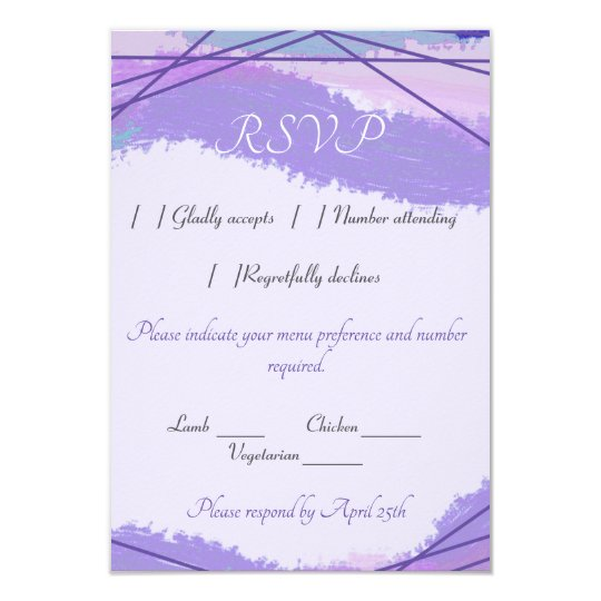 Watercolor and ultraviolet lines contemporary RSVP Card